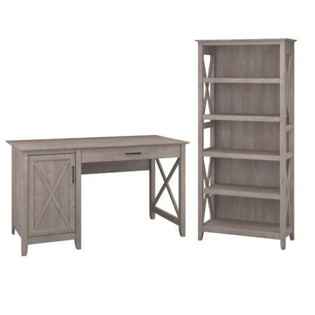 Key West 2 Piece Single Pedestal Desk and 5 Shelf Bookcase Set in Washed Gray