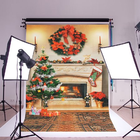 3x2Ft Kids Photography Backdrop Background Fireplace Christmas Poster Picture (Cardboard Fireplace For Christmas)