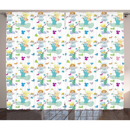 Flowers Baby Nursery (Angel Curtains 2 Panels Set, Elves with Trumpet Flowers Hearts Cupid Butterflies Baby Love Season Nursery Cartoon, Window Drapes for Living Room Bedroom, 108W X 108L Inches, Multicolor, by)