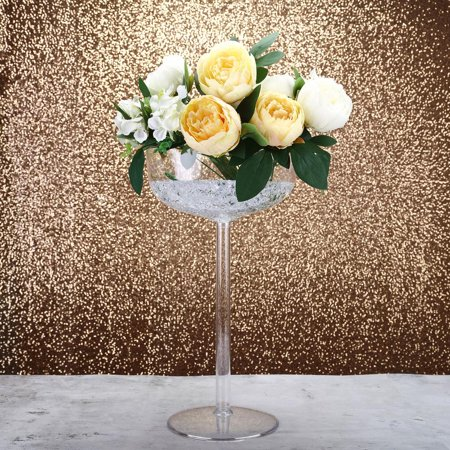 "- 18"" Tall Set of 4 Plastic Glass Vase Table Centerpiece - With Fillable Stem"