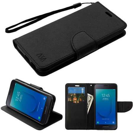 Samsung Galaxy J2 PURE /CORE /J2Pattern Leather Flip Wallet Case Cover Stand Pouch Book Magnetic Buckle Hand Strap Card Slots BLACK Liner Phone Case for Samsung Galaxy J2 Pure /J2 Core (J260) /J2 (Leather Protector Purse)