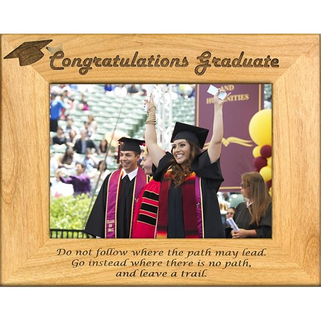Giftworks Plus SCH0006 Congrats Grad - Leave A Trail, Alder Wood Frame, 3.5 x 5 In