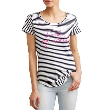 EV1 from Ellen DeGeneres i rule my world striped short sleeve graphic tee women's