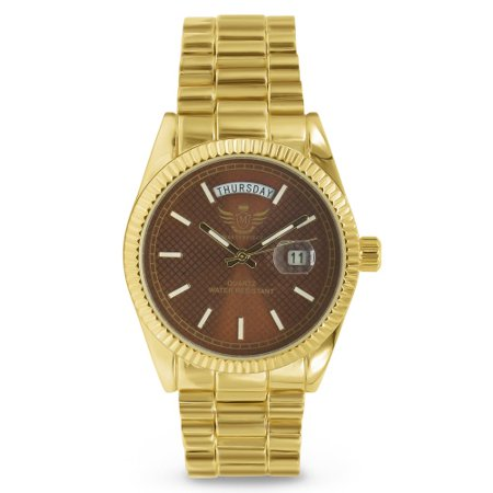 Bulldogs Mens Executive Watch - Gold Day/Date Classic Mens Executive Style Watch