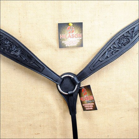 Hand Tooled Black Leather - HILASON WESTERN HAND TOOLED AMERICAN LEATHER HORSE BREAST COLLAR BLACK 322BK
