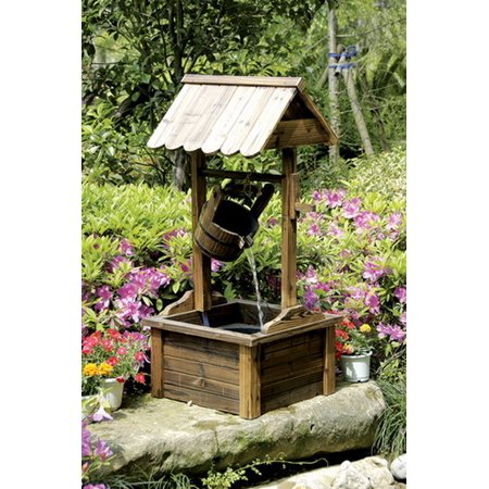 Wishing Well Wood Outdoor Patio Water Fountain with Pump ()