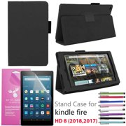 """EpicGadget Case for Amazon Fire HD 8"""" 2018/2017, Auto Sleep/Wake (8th and 7th Generation) Fire HD 8 PU Leather Folding Folio Smart Cover Case For Fire HD 8 Inch 2018/2017 Release (Black)"""