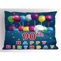 90th Birthday Pillow Sham Joyful Surprise Party Mood with Best Wishes Balloons and Swirls Age Ninety, Decorative Standard Size Printed Pillowcase, 26 X 20 Inches, Multicolor, by Ambesonne