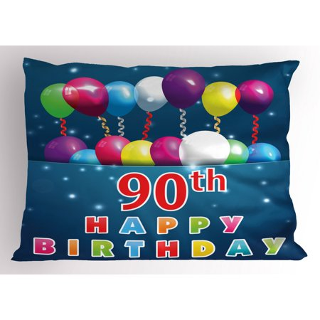 90th Birthday Pillow Sham Joyful Surprise Party Mood with Best Wishes Balloons and Swirls Age Ninety, Decorative Standard Size Printed Pillowcase, 26 X 20 Inches, Multicolor, by Ambesonne ()