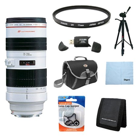 Canon EF 70-200mm f/2.8L USM Telephoto Zoom Lens for Canon SLR Cameras w/ 77mm Multicoated UV Protective Filter, Deluxe Bag, Lens Cap Keeper, Microfiber Cleaning Cloth, Memory Card Wallet, and
