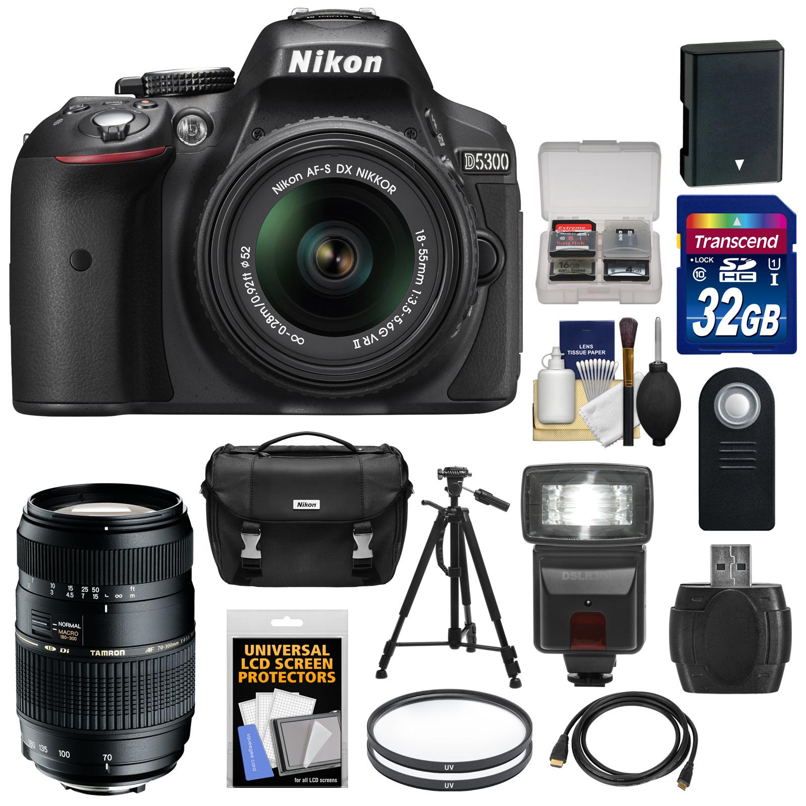 Nikon D5300 Digital SLR Camera & 18-55mm G VR Lens (Black) with 70-300mm Lens + 32GB Card + Battery + Case + Filters + Flash + Tripod + Accessory Kit