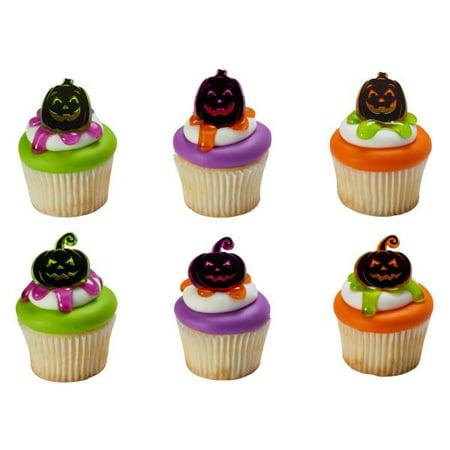 Pumpkin Silhouette - Pumpkin Silhouettes Cupcake Rings 12 Count
