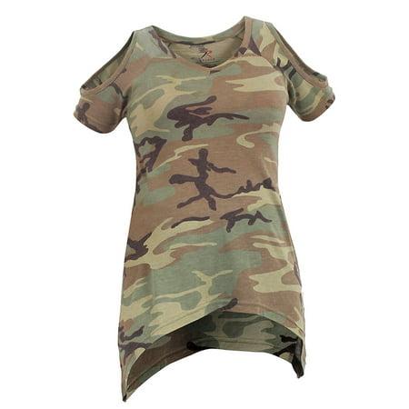 Rothco Womens Camo Cold Shoulder Top - Woodland Camo, X-Small