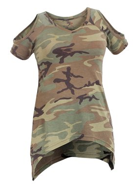 767f43df54d9d Product Image Rothco Womens Camo Cold Shoulder Top - Woodland Camo, X-Small