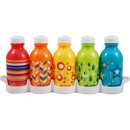Reduce 10-Ounce WaterWeek Kids Bottle, Kaleidoscope, 5-Pack