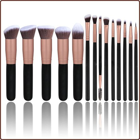 Coolmade Makeup Brushes 14 PCs Makeup Brush Set Premium Synthetic Foundation Brush Blending Face Powder Blush Concealers Eye Shadows Make Up Brushes Kit (Rose