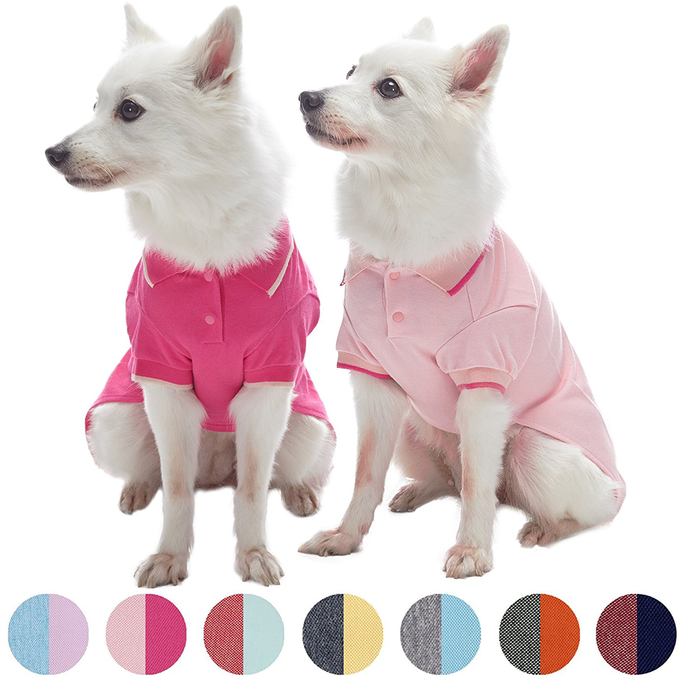 """Blueberry Pet Pack of 2 Back to Basic Cotton Blend Dog Polo in Amaranth Red and Pink, Back Length 14"""""""
