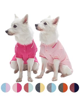 Blueberry Pet Pack of 2 Back to Basic Cotton Blend Dog Polo in Amaranth Red and Pink, Back Length 14