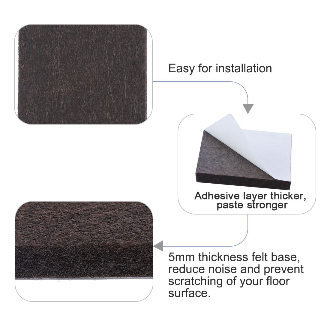 "Felt Furniture Pads Square 7/8"" Self Adhesive Anti-scratch Floor Protector 40pcs - image 4 of 7"