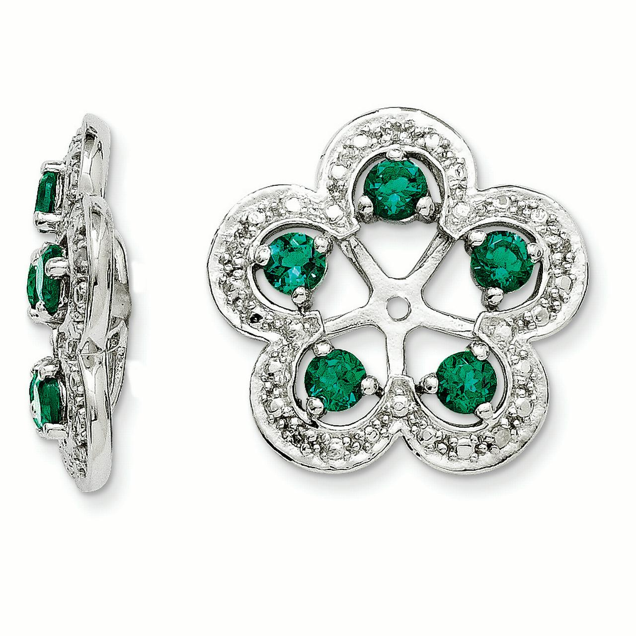 Sterling Silver Diamond & Created Emerald Earring Jacket