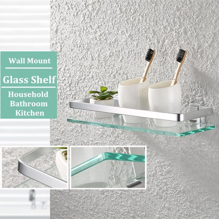 Chrome Luxury Glass Shelf Wall Mounted Storage Rack Home Bathroom Toilet Kitchen Holder Shelves Walmart Canada