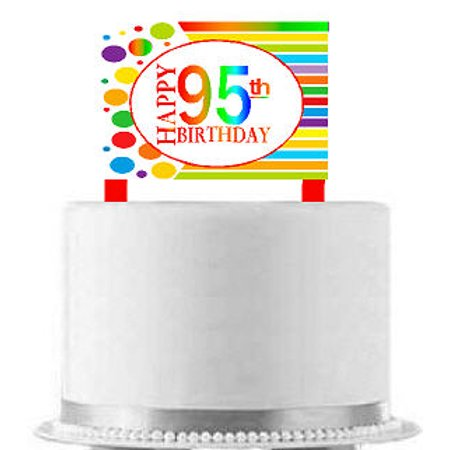 CakeSupplyShop Item#AE-096 Happy 95th Birthday Rainbow Elegant Cake Decoration Topper](Rainbow Cake Decorations)