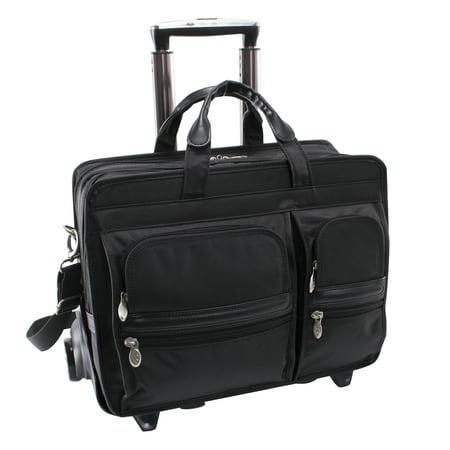 McKlein CLINTON, Nylon Patented Detachable -Wheeled Laptop Briefcase, Tech-Lite Ballistic Nylon, Black