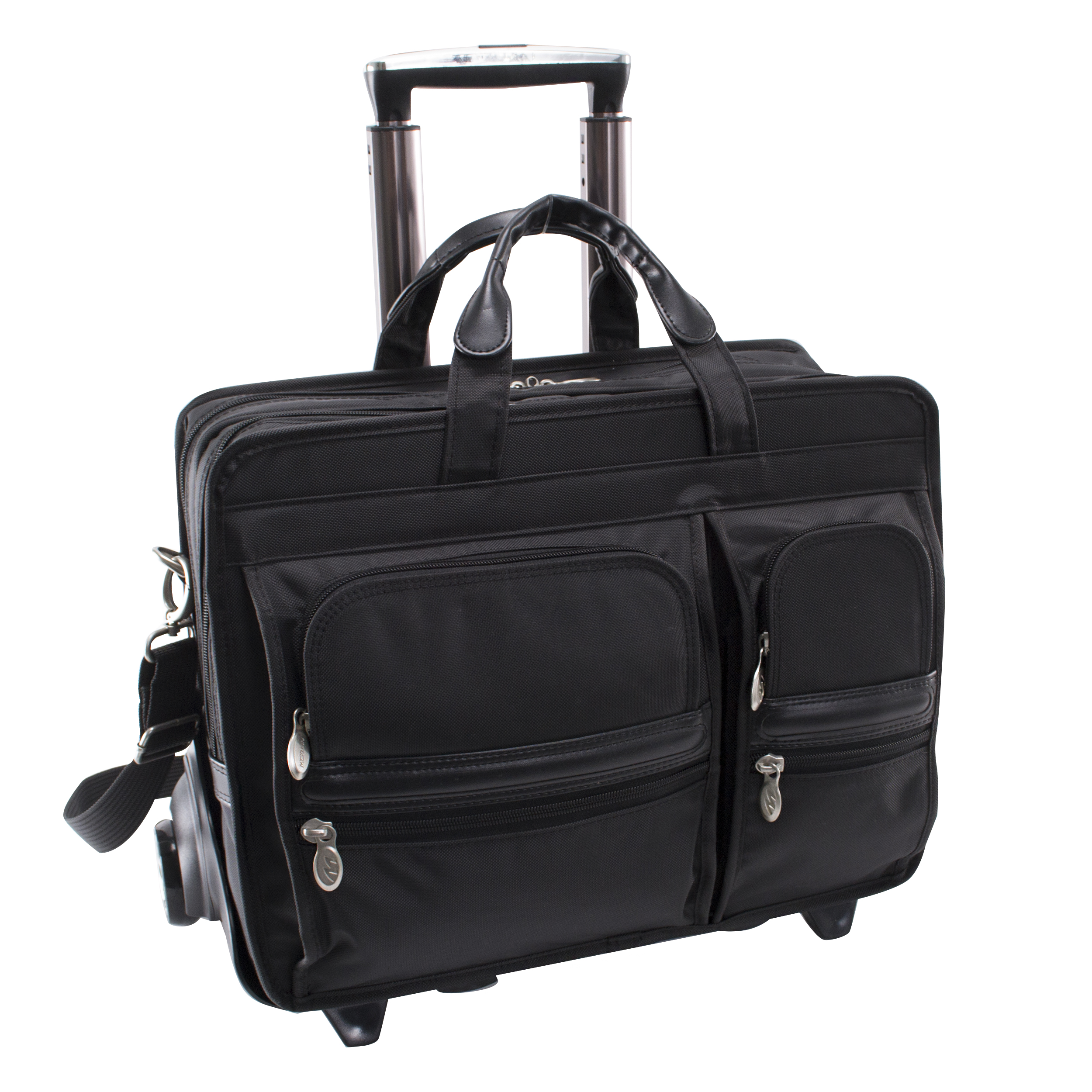 McKlein CLINTON, Nylon Patented Detachable -Wheeled Laptop Briefcase, Tech-Lite Ballistic Nylon, Black (58445)