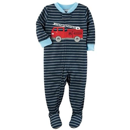 Carters Infant Boys Navy Striped Fire Truck Sleep & Play Pajama - Boys Carters Fire Truck