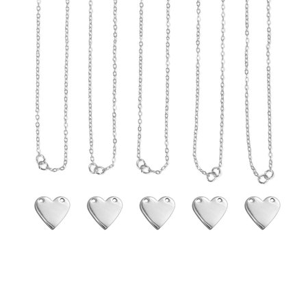 Personal Impressions Necklace Kit, Heart, Silver Plated, Includes: 5 necklaces (blanks and chains) and 1 practice blank By ImpressArt (Personal Necklaces)