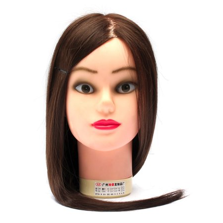 LuckyFine Hairdressing Training Head 60% Real Hair 18'' Hairdressing Head Mold / Dummy Head / Practice Model with Bracket - image 3 of 7