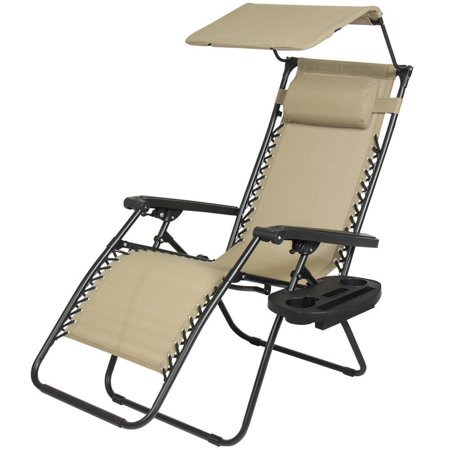 Zero Gravity Chair Lounge Patio Chairs Outdoor With Canopy Cup Holder