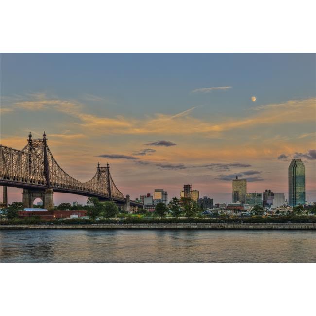 Posterazzi DPI12284579 Moonrise Over Queensboro Bridge & The Citibank Building - Queens New York United States of America Poster Print - 19 x 12 in. - image 1 de 1