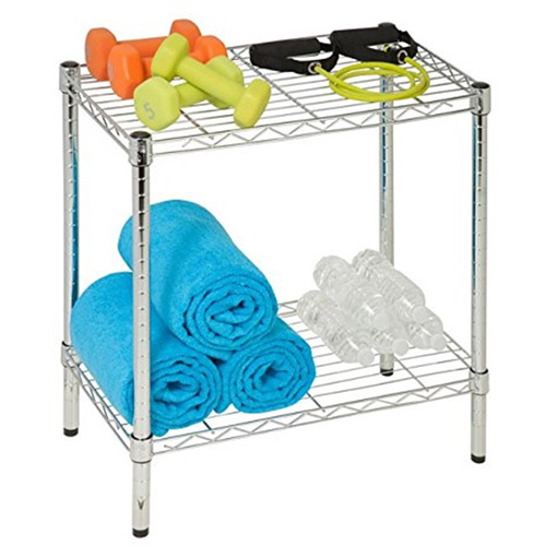 Honey Can Do 2-Shelf Steel Storage Shelving Unit, Chrome