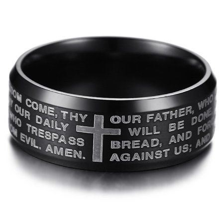 Men's Stainless Steel Our Father Lord's Prayer and Cross Ring, 8mm Brushed Finish Comfort Fit Wedding Band](Wedding Unity Cross)