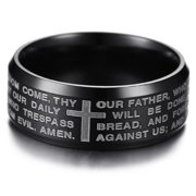 Men's Stainless Steel Our Father Lord's Prayer and Cross Ring, 8mm Brushed Finish Comfort Fit Wedding Band