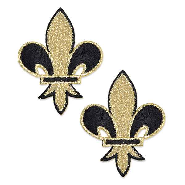 Expo Pack of 2 Iron-on Embroidered Fleur de Lis Applique Pack of 2