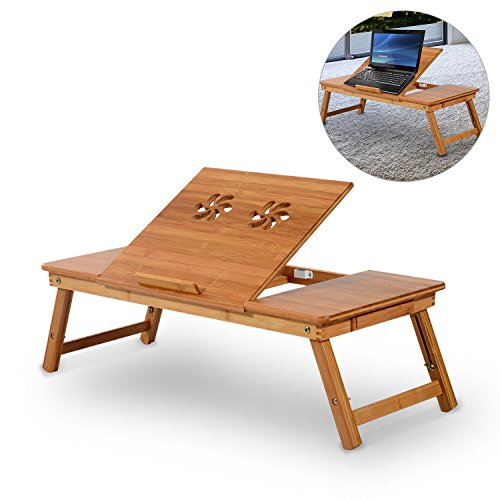 GHP 110-Lbs Capacity Bamboo Folding Laptop Desk Stand with Drawer & Cup Holder