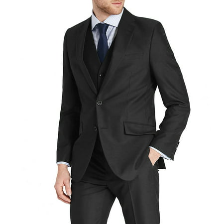 Mens Three Piece Two Button Slim Fit Italian Styled Single Breasted Suit Set | Black Navy Charcoal Gray Lightgray Beige Indigo (Charcoal Grey Suit)