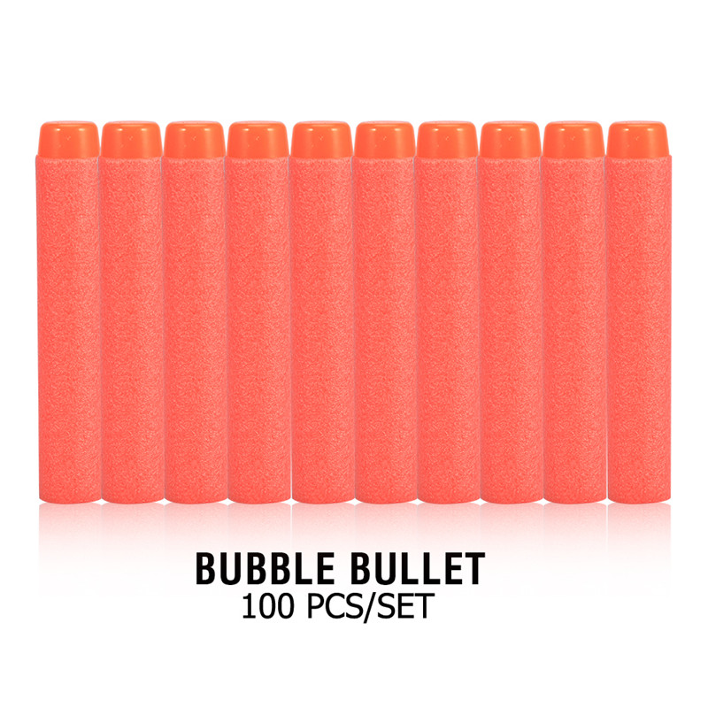 100 PCS EVA Soft Bullets Refill Darts For N-Strike Elite Series Toy,Red