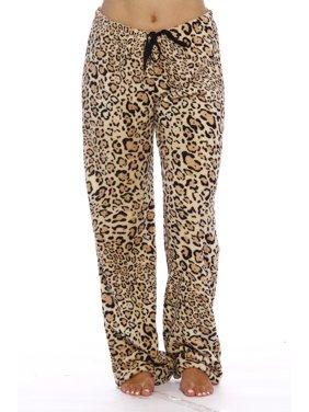 Women's Plush Pajama Pants - Petite to Plus Size Pajamas (Leopard, X-Large)