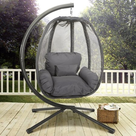 XtremepowerUS Outdoor Hanging Egg Chair Swing Patio Hammock Seat w/ Cushion and Stand Grey