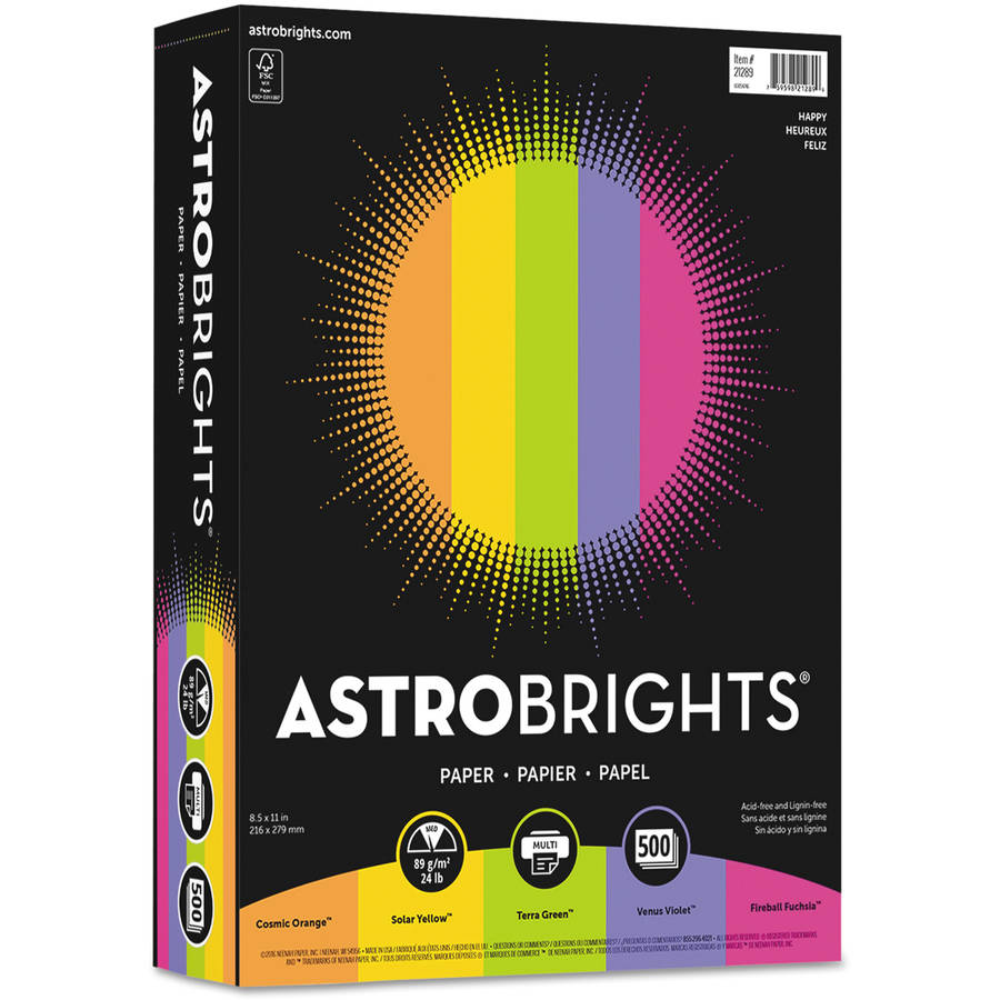 Wausau Paper Astrobrights Colored Paper, 24lb, 8-1/2 x 11, Assorted, 500 Sheets/Ream