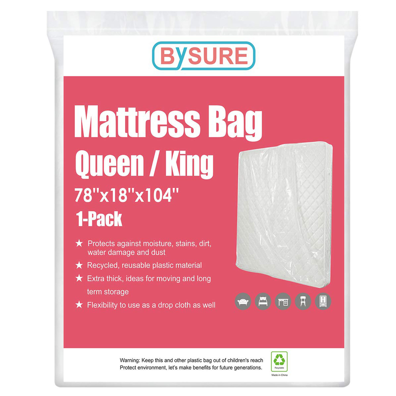 HOMEIDEAS 4 Mil 1-Pack Super Thick Mattress Bags for ...