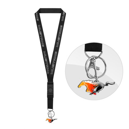 Ford Mustang in White Black Lanyard with Flame Pony - Cars Lanyards