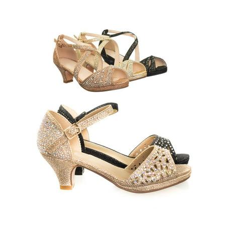 Fantastic by Forever Link, Children Girl's Bling High Block Heel Dress Sandal w Rhinestone Stud & Glitter - Sailor Heels