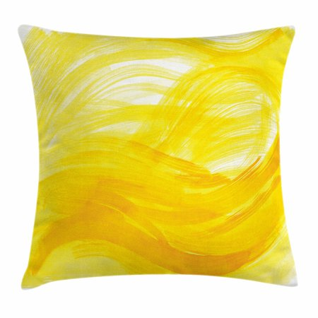 Yellow And White Throw Pillow Cushion Cover  Painting Style Brushstroke Twist Abstract Artistic Monochrome Wave  Decorative Square Accent Pillow Case  18 X 18 Inches  Yellow Marigold  By Ambesonne