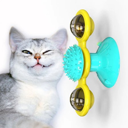 Windmill Cat Toy Turntable Teasing Pet Toy Scratching Tickle Cats Hair Brush Funny Cat Toy Hair Brush Chew Toys - image 3 de 5