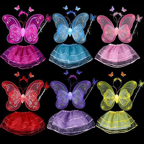 Girl12Queen Kids Cosplay Party Clothes Fairy Butterfly Wing Wand Headband Tutu Skirt Dress Set