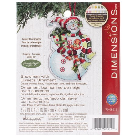 Susan Winget Snowman W/Sweets Ornament Counted Cross-Stitch, 3-1/4